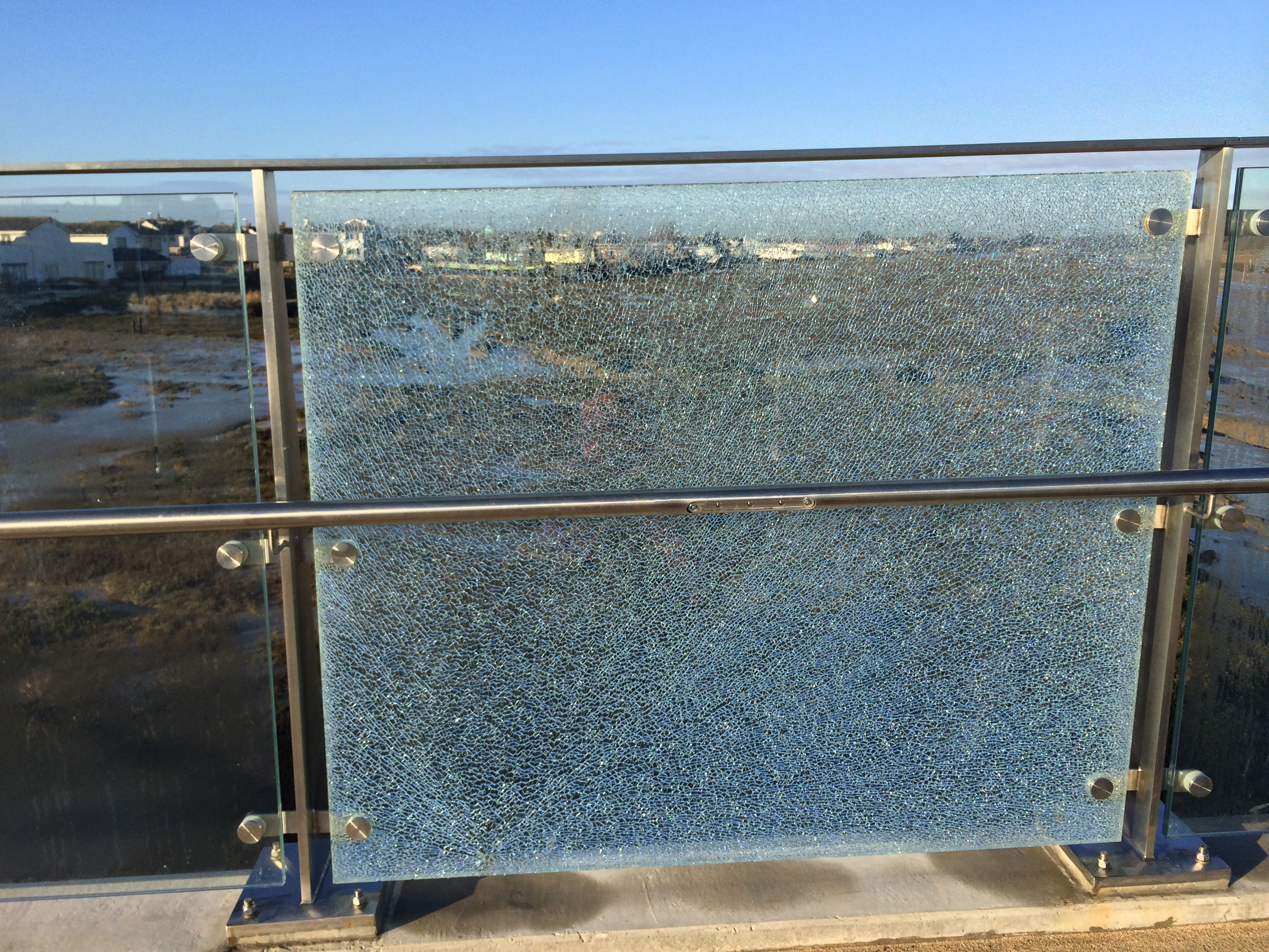 First smashed glass panel on the Adur Ferry Bridge
