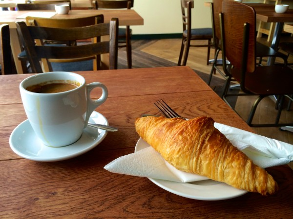 Coffee and a croissant at the Tom Foolery coffee shop, Shoreham by Sea