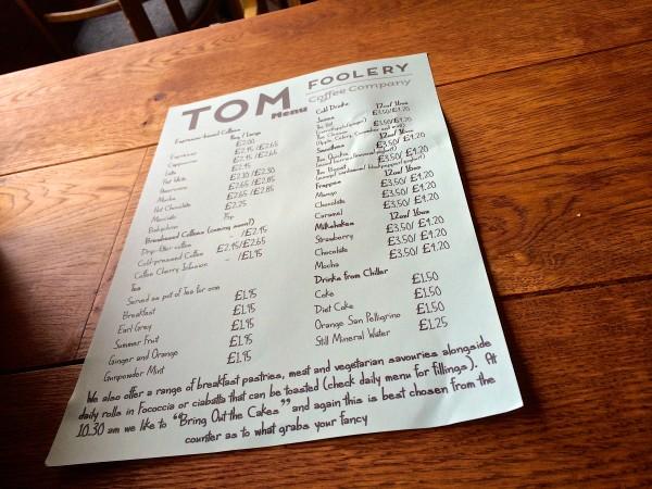 The Tom Foolery Menu